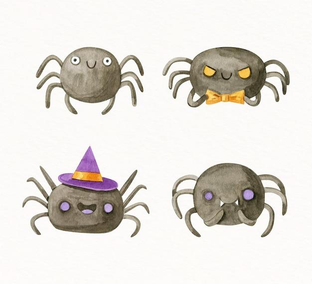 Colección de arañas de halloween en acuarela
