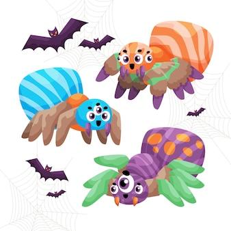 Colección de arañas de halloween dibujadas a mano
