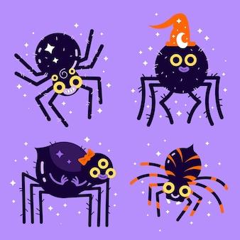 Colección de arañas de halloween planas dibujadas a mano