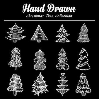 Colección de árbol de navidad dibujado a mano