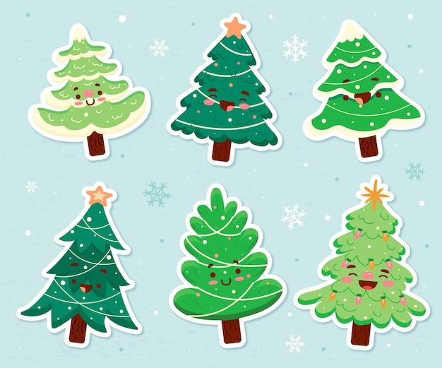 Colección arbol de navidad dibujado a mano