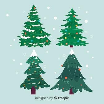 Colección de árbol de navidad en diseño plano