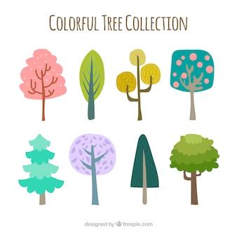 Colección de árboles coloridos