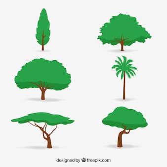 Colección de árboles en estilo 2d