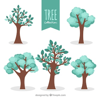 Colección de árboles  en estilo plano