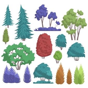 Colección de árboles forestales del parque