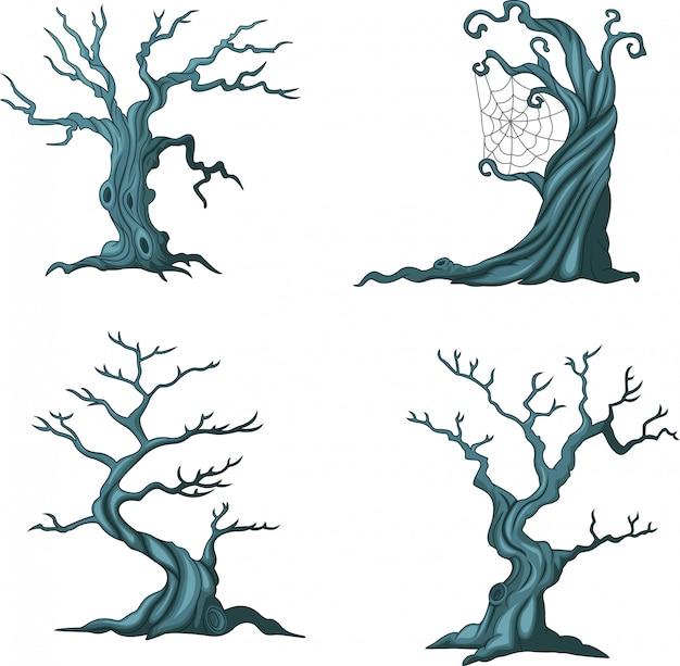 Colección de árboles de halloween de dibujos animados