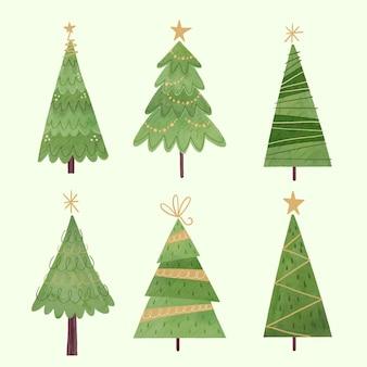 Colección de árboles de navidad en acuarela