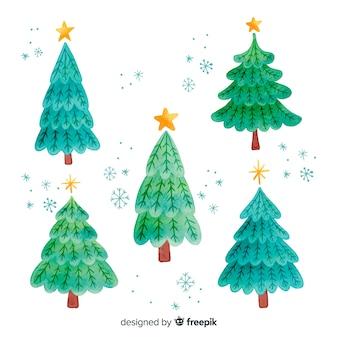 Colección de árboles de navidad de acuarela
