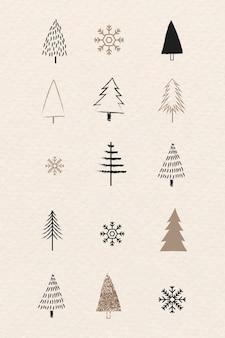 Colección de árboles de navidad y copos de nieve en estilo doodle
