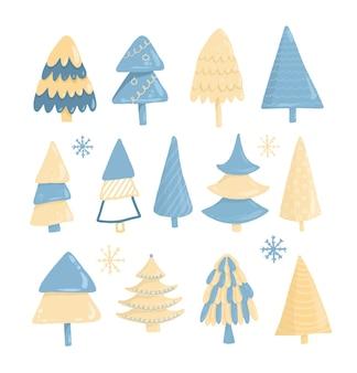 Colección de árboles de navidad, dibujados a mano aislado sobre un fondo blanco.