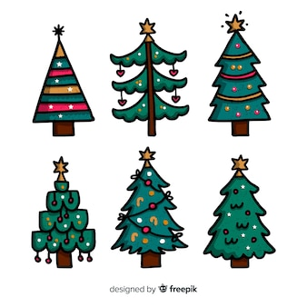 Colección de árboles de navidad dibujados a mano sobre fondo blanco.