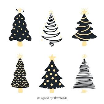 Colección de árboles de navidad dibujados a mano