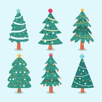 Colección de árboles de navidad de diseño plano