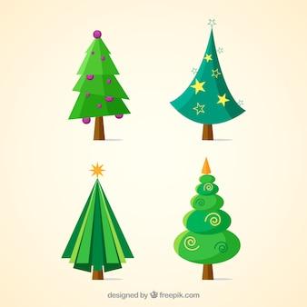 Colección de árboles de navidad geométricos