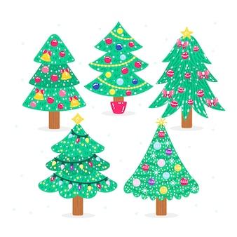 Colección arboles de navidad planos dibujados a mano