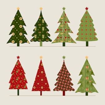Colección de árboles de navidad vintage