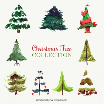 Colección de árboles navideños de acuarela