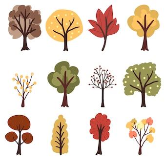 Colección de árboles de otoño de estilo plano
