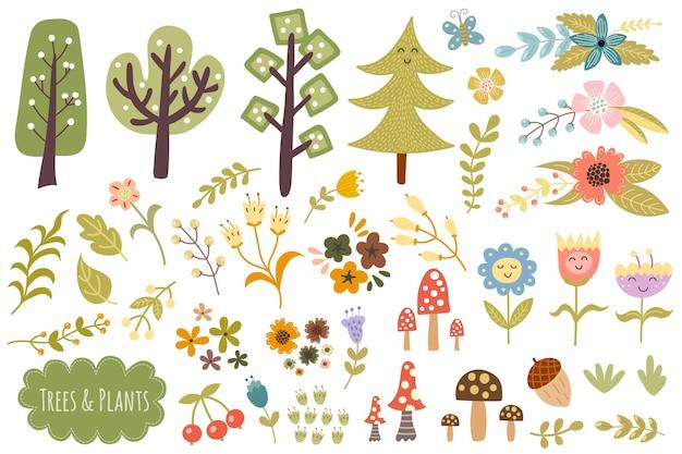 Coleccion de arboles, plantas y flores. conjunto de elementos de bosque lindo.