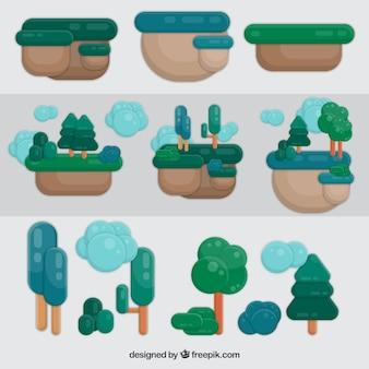 Colección de árboles y tierra