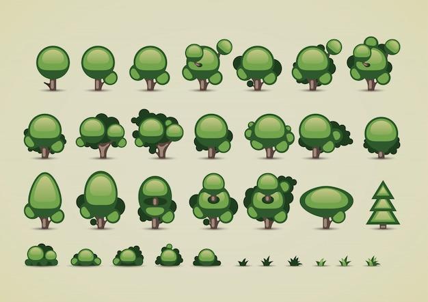 Colección de árboles para videojuegos.