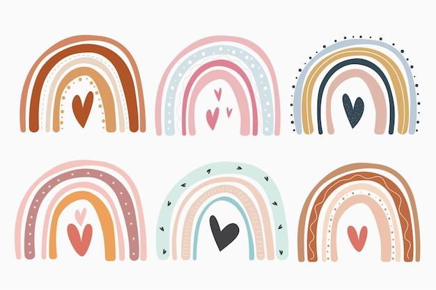 Colección de arco iris boho dibujados a mano en colores pastel ilustración