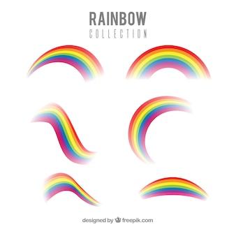 Colección de arco iris con formas diferentes en estilo plano