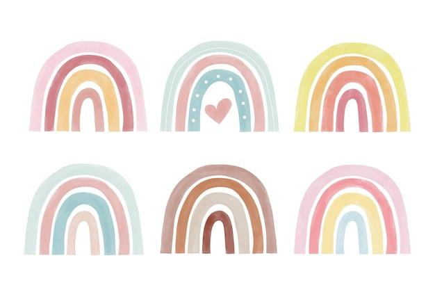 Colección de arcoíris de colores pastel en acuarela