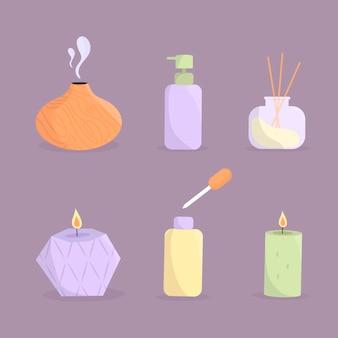 Colección de aromaterapia dibujada a mano