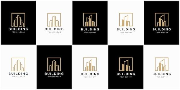 Colección de arquitectura de edificios, símbolos de diseño de logotipos inmobiliarios
