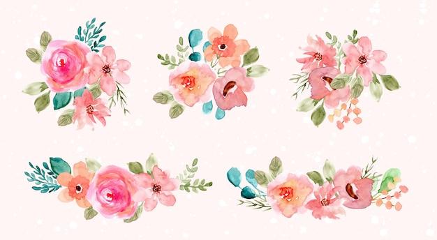 Colección de arreglo de flores de acuarela verde rosa