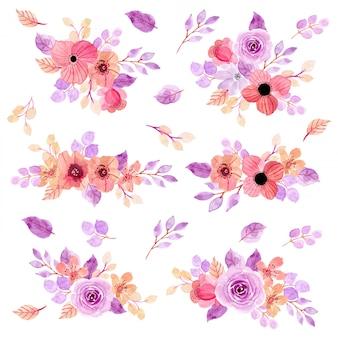 Colección de arreglos de acuarela floral rosa púrpura
