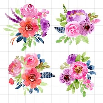 Colección de arreglos de acuarela floral