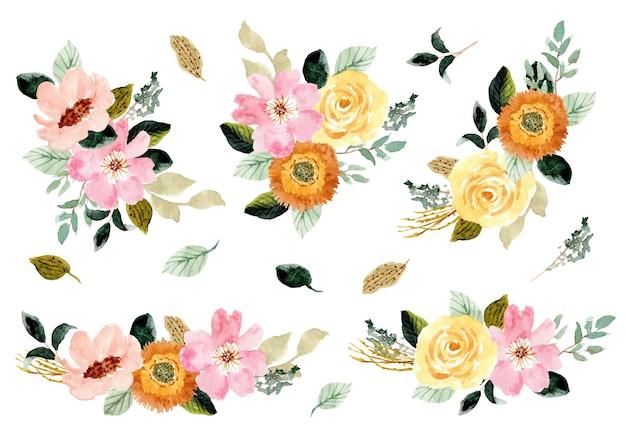Colección de arreglos de acuarela de jardín floral rosa amarillo