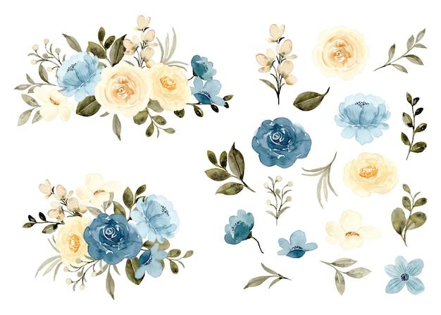 Colección de arreglos y elementos florales amarillos azules acuarela