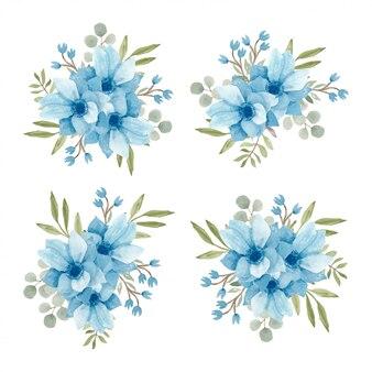 Colección de arreglos florales de acuarela azul