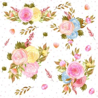 Colección de arreglos florales en acuarela con hermosas flores