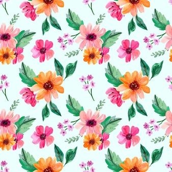Colección de arreglos florales de acuarela rosa y naranja