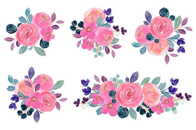 Colección de arreglos florales en acuarela rosa
