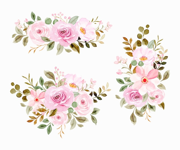 Colección de arreglos florales en acuarela