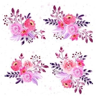 Colección de arreglos florales de acuarela