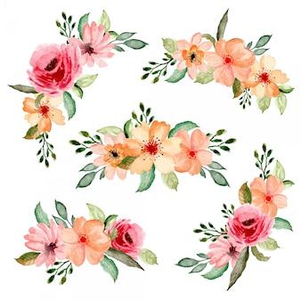 Colección de arreglos florales acuarela