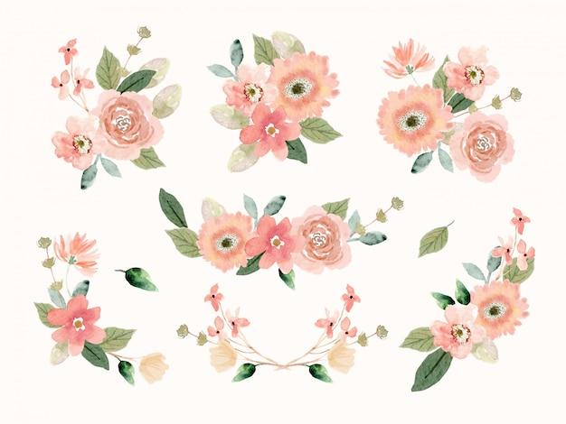 Colección de arreglos florales de durazno en estilo acuarela