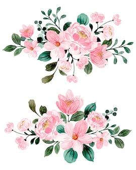 Colección de arreglos florales rosas con acuarela