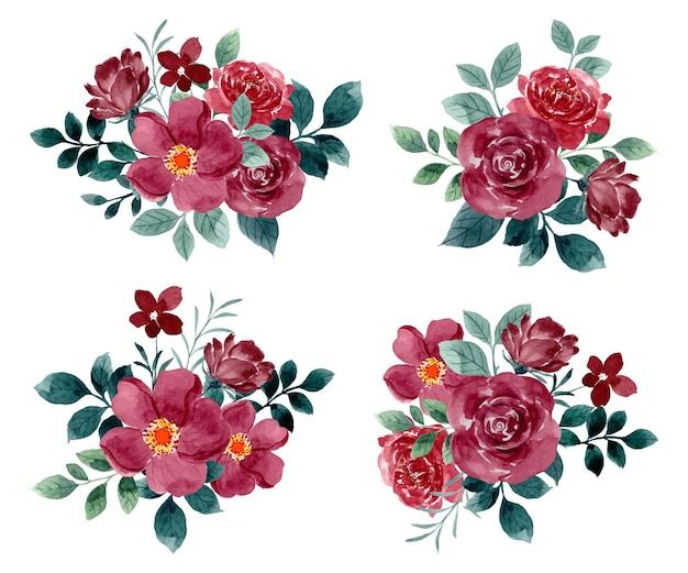 Colección de arreglos florales de rosas rojas con acuarela