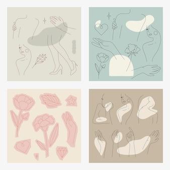 Colección de arte de línea femenina