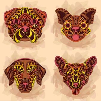Colección de arte de perros en colores cálidos
