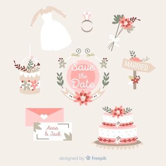 Colección de artículos de boda en diseño plano