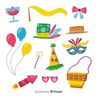 Colección de artículos de carnaval en diseño plano